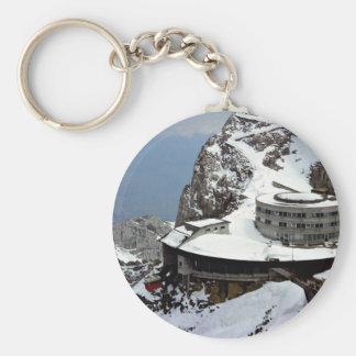 View from summit, Mt. Pilatus, Switzerland Europe Basic Round Button Keychain