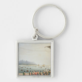 View from the Deck of the Upton Castle Transport, Silver-Colored Square Keychain