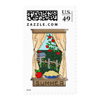 View From the Kitchen Window in Summer Postage Stamps