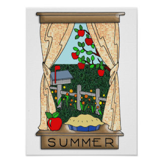 View From the Kitchen Window in Summer Poster