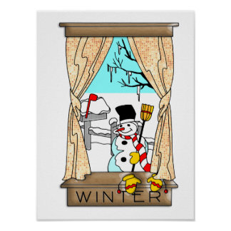 View from the Kitchen Window in Winter Poster