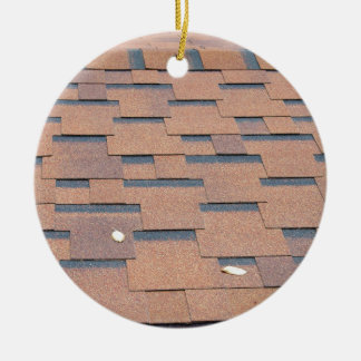 View from the roof shingles closeup brown ceramic ornament