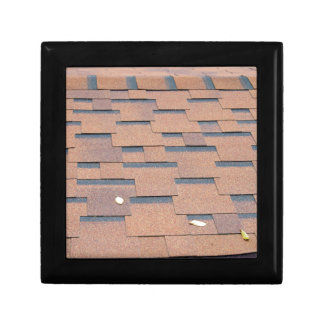 View from the roof shingles closeup brown gift box