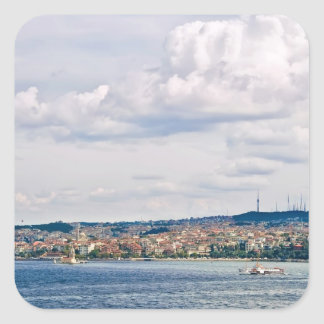 View From Topkapi Palace Towards The Maiden Tower Square Sticker