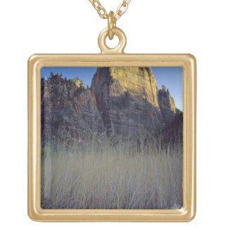 View from Virgin River flood plain, Zion Canyon Square Pendant Necklace