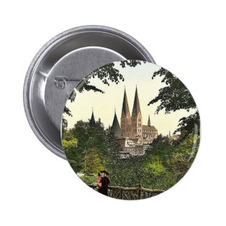 View from wall towards Mary's Church, Lubeck, Germ Pinback Buttons