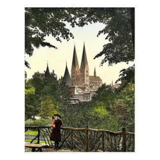 View from wall towards Mary's Church, Lubeck, Germ Postcard