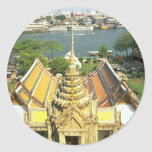 View from Wat Arun over Chao Phraya river, Bangkok Classic Round Sticker