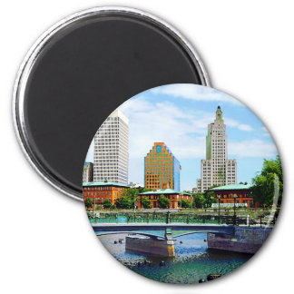View from Waterplace Park, Providence, RI 2 Inch Round Magnet
