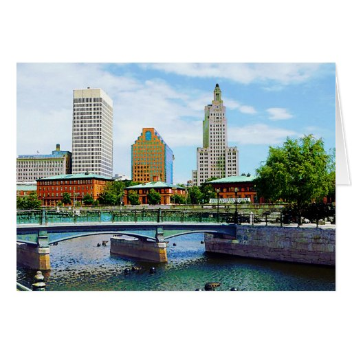 View from Waterplace Park, Providence, RI Greeting Card