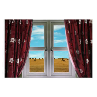 View from window onto farmland poster