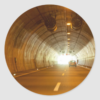 View in a highway tunnel classic round sticker