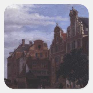 View in Amsterdam by Adriaen van de Velde Square Sticker