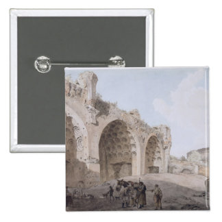 View in the Roman Forum (The Temple of Peace) 1779 2 Inch Square Button