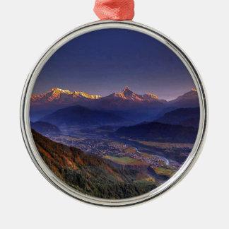 View Landscape  : HIMALAYA POKHARA NEPAL Metal Ornament