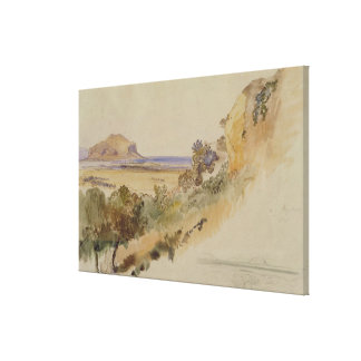 View near Palermo, 1847 (pen & ink with w/c over p Canvas Print