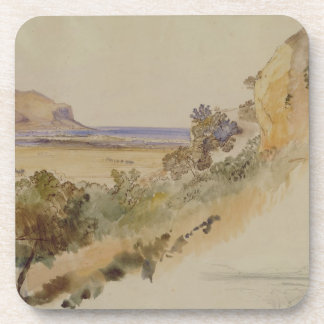 View near Palermo, 1847 (pen & ink with w/c over p Coaster