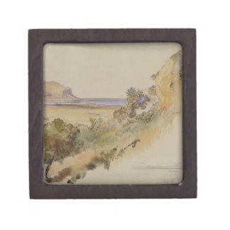 View near Palermo, 1847 (pen & ink with w/c over p Keepsake Box