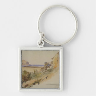 View near Palermo, 1847 (pen & ink with w/c over p Keychain
