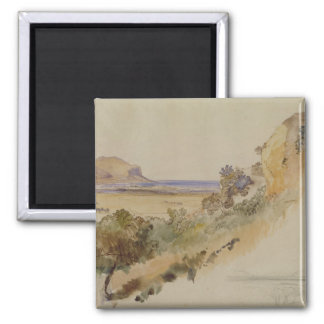 View near Palermo, 1847 (pen & ink with w/c over p Magnet