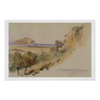 View near Palermo, 1847 (pen & ink with w/c over p Poster