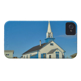 View of a blue and white church in Dene tribe iPhone 4 Case-Mate Case
