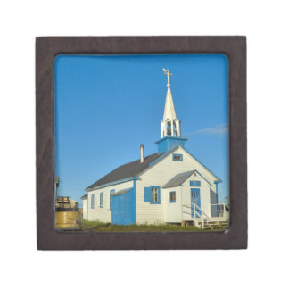View of a blue and white church in Dene tribe Gift Box