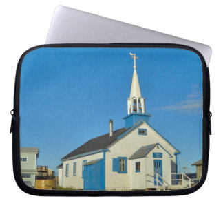 View of a blue and white church in Dene tribe Laptop Sleeve