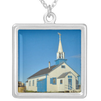 View of a blue and white church in Dene tribe Necklace