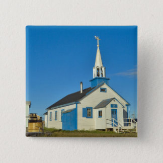 View of a blue and white church in Dene tribe Pinback Button