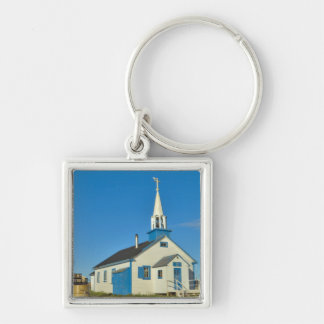 View of a blue and white church in Dene tribe Silver-Colored Square Keychain