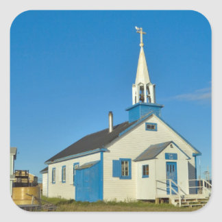 View of a blue and white church in Dene tribe Square Sticker