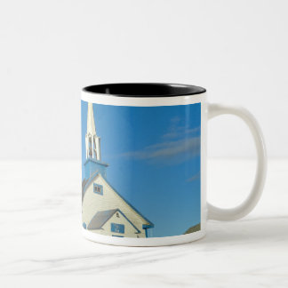 View of a blue and white church in Dene tribe Two-Tone Coffee Mug