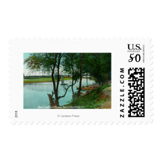 View of a Boat Landing on the Russian River Postage
