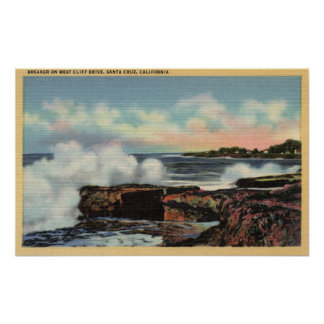 View of a Breaker on West Cliff Drive Posters