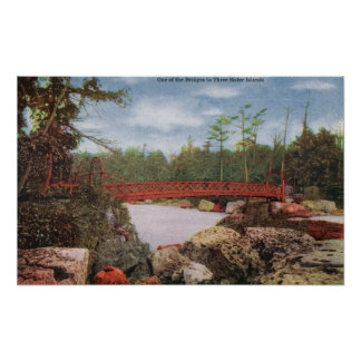 View of a Bridge to the Three Sister Islands Poster