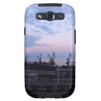 View of a cargo seaport against the evening cloudy galaxy SIII cover