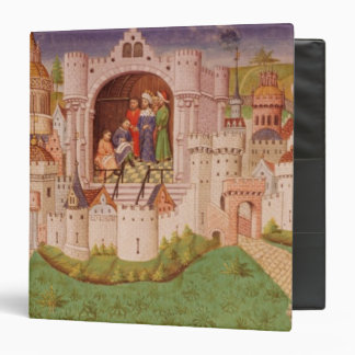View of a city with labourers paving roads 3 ring binder