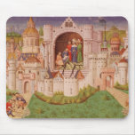 View of a city with labourers paving roads mouse pad
