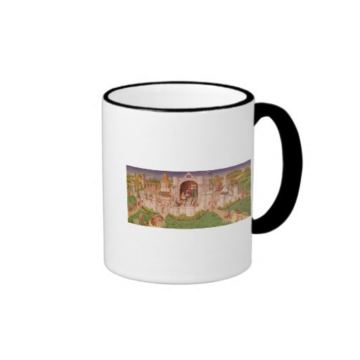 View of a city with labourers paving roads ringer coffee mug