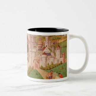 View of a city with labourers paving roads Two-Tone coffee mug