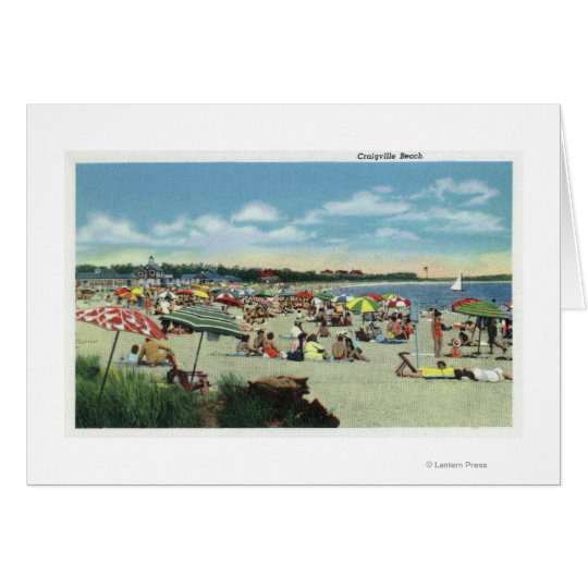 View of a Crowded Craigville Beach Card