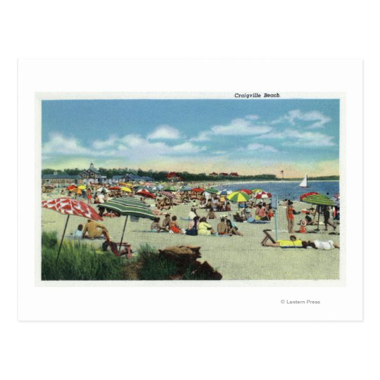View of a Crowded Craigville Beach Postcard