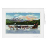 View of a Dogsled Team on Mirror Lake Greeting Cards
