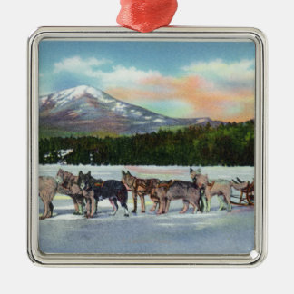 View of a Dogsled Team on Mirror Lake Square Metal Christmas Ornament