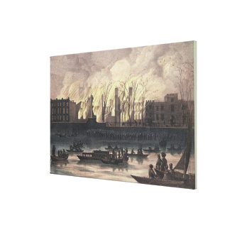 View of a fire at Whitehall Palace Canvas Print
