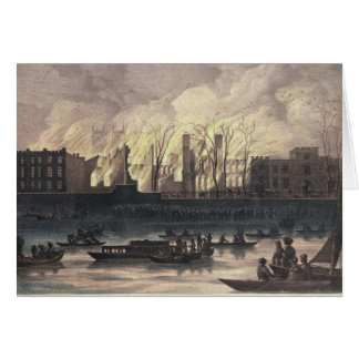 View of a fire at Whitehall Palace Cards