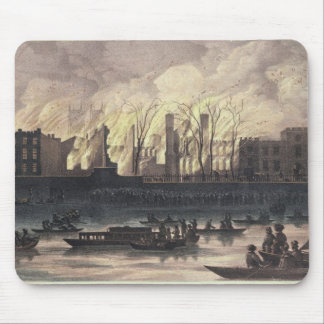 View of a fire at Whitehall Palace Mouse Pad