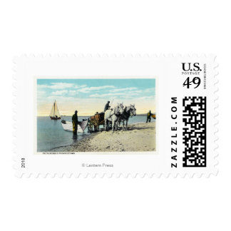View of a Horse Cart Pulling in a Boat Postage