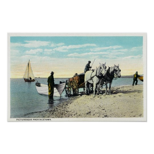 View of a Horse Cart Pulling in a Boat Poster